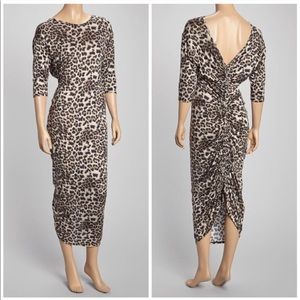 Loveappella Ruched Back Maxi Dress in Leopard